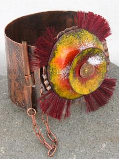 Copper Bracelet With Enamel & Horse Hair
