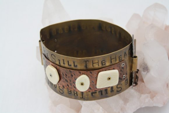 Mixed Metal With Fossilized Walrus Tusk Bracelet