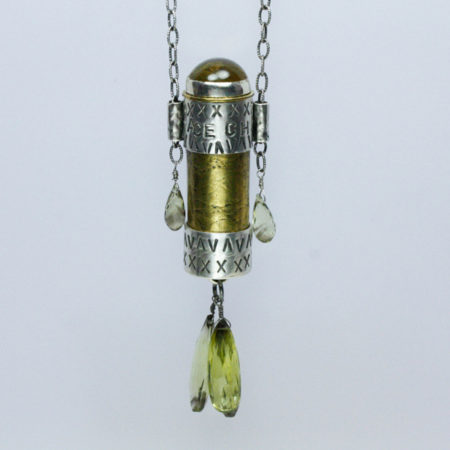 "Embrace Chance Pendant Mixed metal amulet with citrine on 20"" sterling chain."