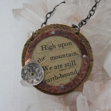 "High Upon the Mountain Pendant Mixed metal pendant with text collage on 18"" sterling chain."